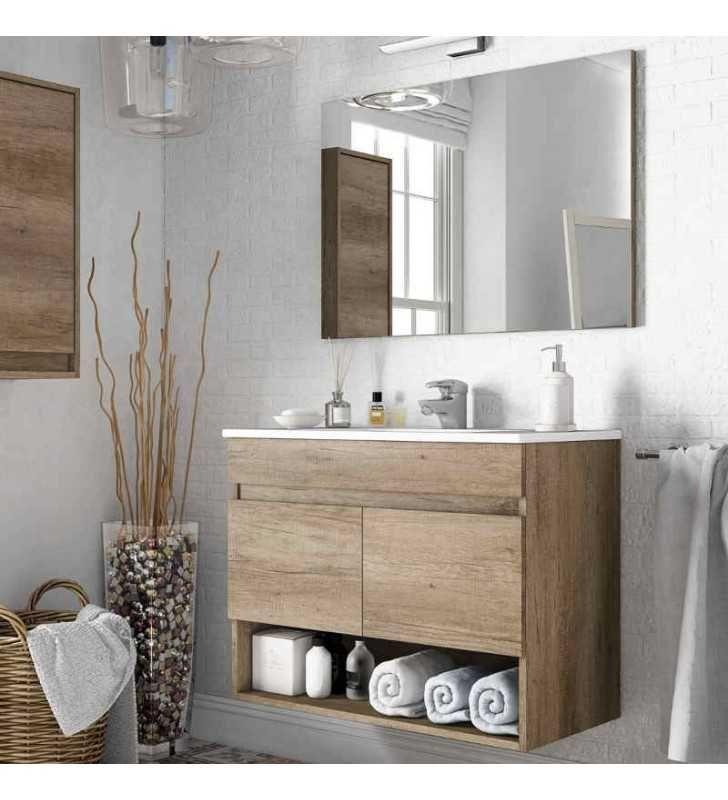 Mueble baño con espejo 2 puertas y hueco abierto 80x45x64 ...