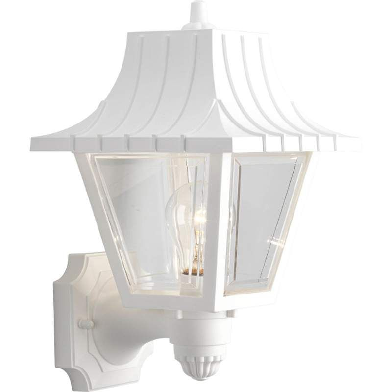 "White Outdoor Lights Progress Lighting P5814 Mansard 1 Light 13"" Tall Outdoor Wall Sconce"