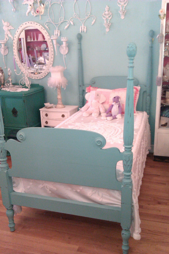 Amy Twin Bed Frame Shabby Antique Chic Aqua Turquoise Blue Distressed 4 Post Beach Cottage Coastal Vintage Poster
