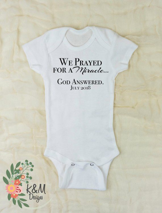 cf701ee0c Christian Onesie We Prayed for a Miracle God Answered pregnancy  announcement bodysuit IVF Pregnancy