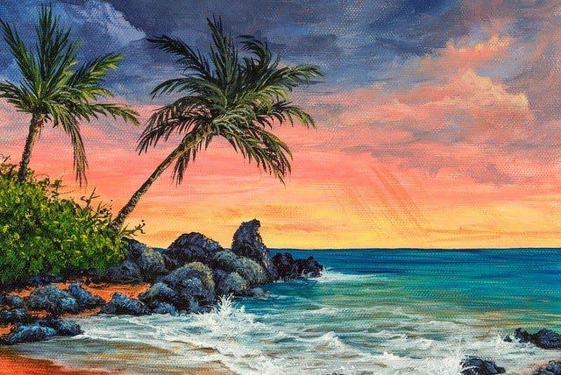 Gambar Pemandangan Pantai Yang Indah Dan Mudah Digambar 50 Lukisan