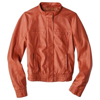 Super cute orange faux leather bomber jacket. $30.00. Very ...