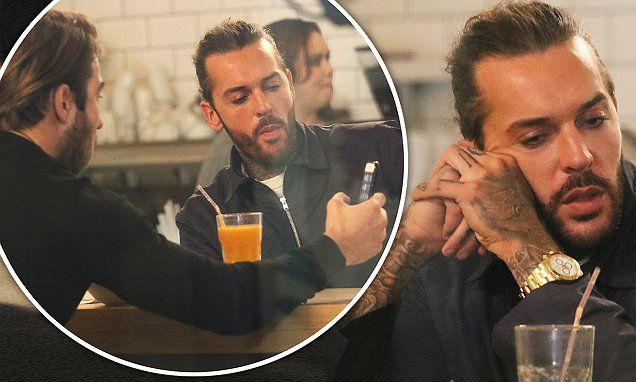 TOWIE's Pete Wicks looks down in the dumps as he chats with James Lock