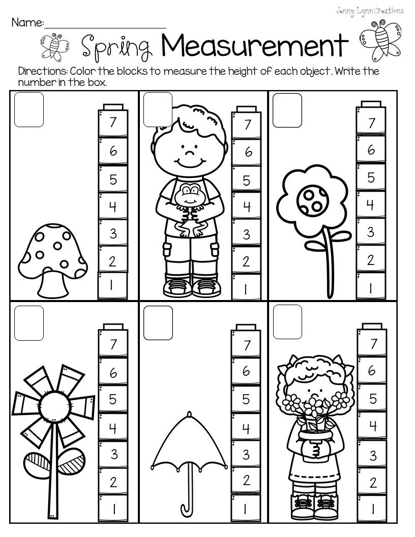 Spring Measurement   Measurement kindergarten [ 1056 x 816 Pixel ]