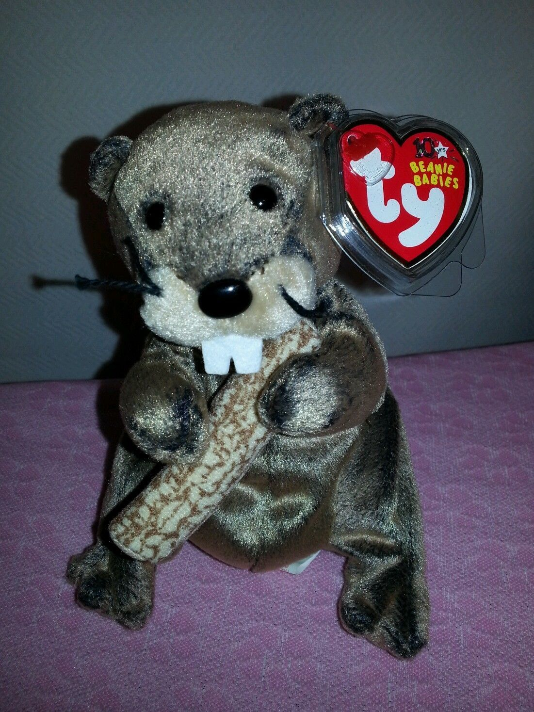 Bear Stripers lumberjack the beaver w/ log | ty beanie, beanie, teddy bear