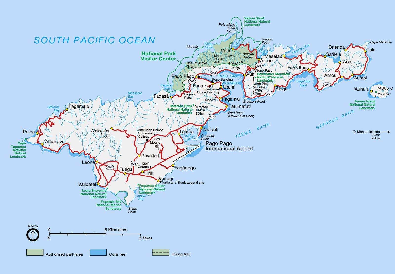 Large detailed national parks map of Tutuila Island American Samoa