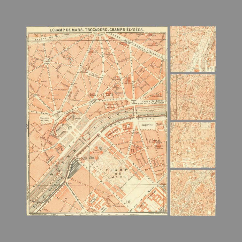 Set of 5 Antique Paris City Maps Art Prints, Street Plans, 10 by 14 ...
