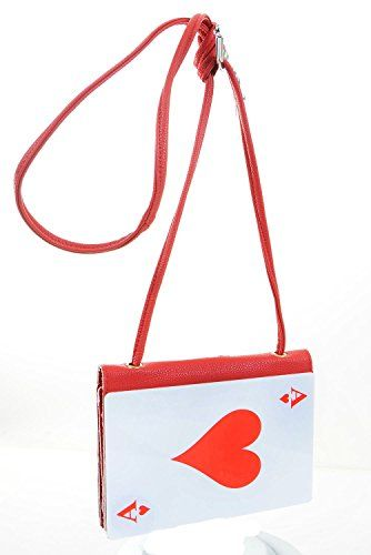 Faux leather handbag with shoulder strap, shaped like an Ace of Hearts.