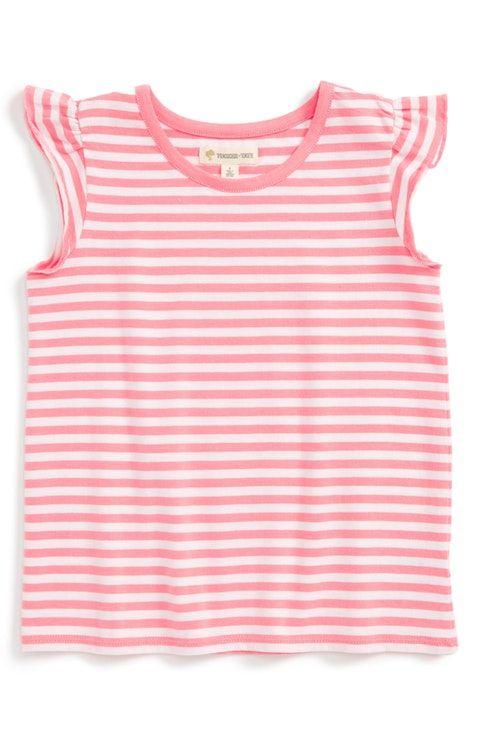 Tucker + Tate Stripe Flutter Sleeve Tee (Toddler Girls, Little Girls & Big Girls)