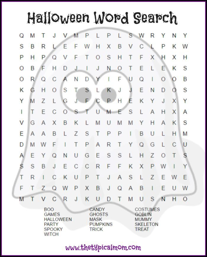 Halloween word search printable pages you can give your kids or ...