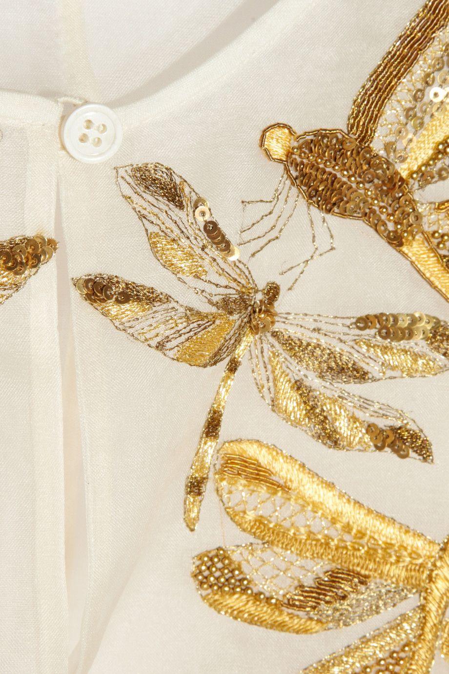 Alexander Mcqueen  Embroidered Silkorganza Blouse Aporter