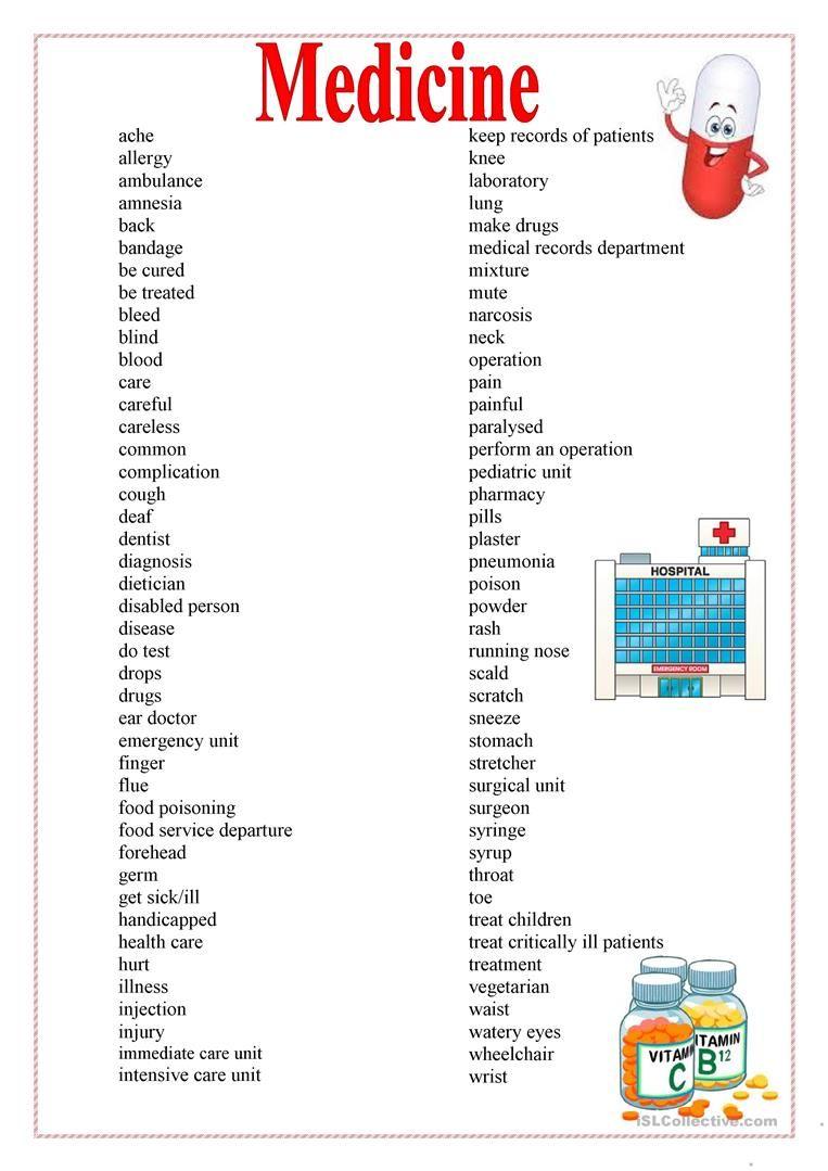 Medicine Health Worksheet Free Esl Printable Worksheets Made By Teachers Medical Words Medical Technology Medical