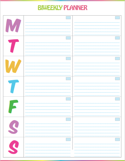 Free printable bi weekly planner cute colorful for Week by week planner template