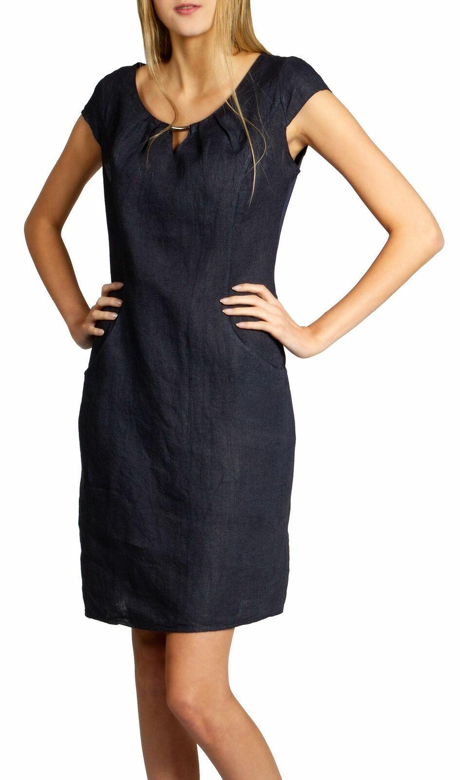 schwarzeskleid #metallspange #leinenkleid #schwarzes #knielang