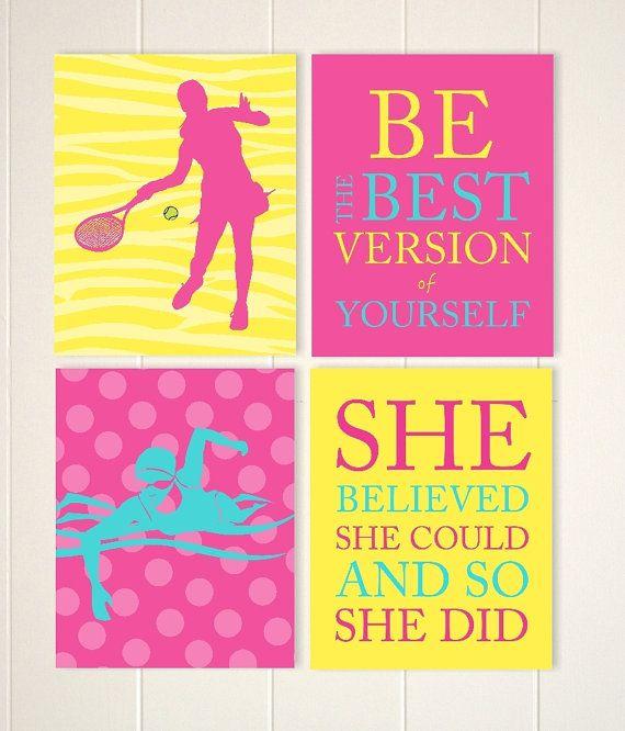 Swimmer girls wall art, girls tennis wall art, tennis room decor ...