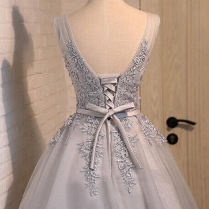 short prom dress, grey/silver prom ..