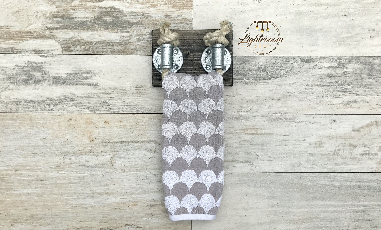 Photo of Rope Towel Ring, Galvanized, Nautical Design, Towel Bar, Towel Rack, Black Rope, Bathroom Fix…