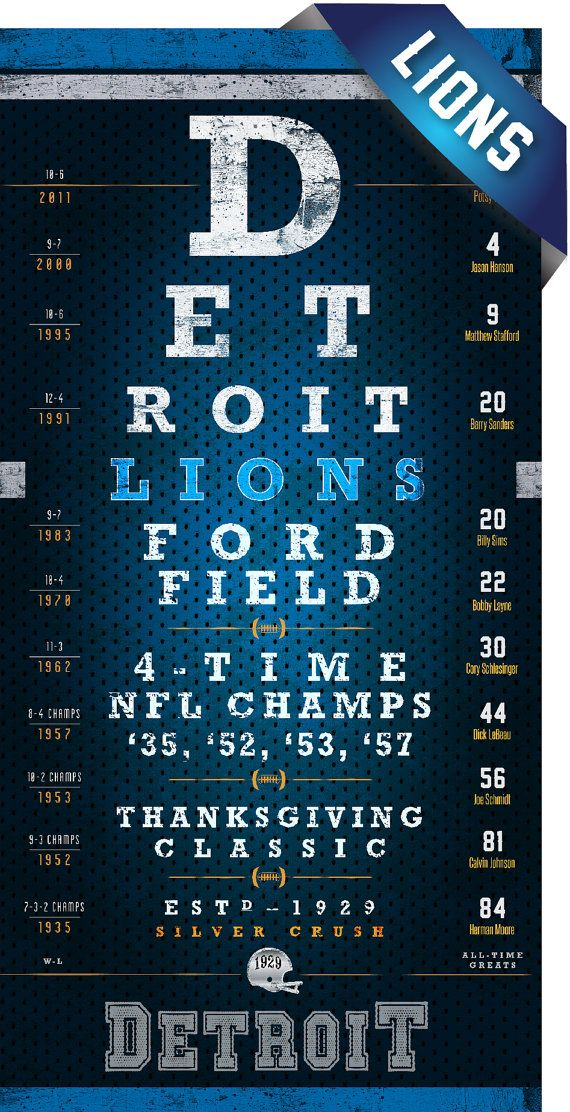 Detroit Lions Eye Chart Perfect Christmas Gift For Lions Fan Perfect Valentines And Birthday Gift Unframed Print Detroit Lions Nfl Detroit Lions Detroit