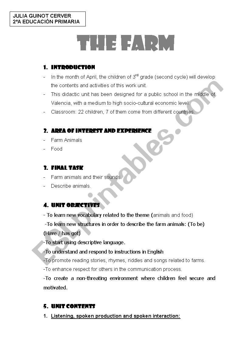 3rd Grade Economics Worksheets the Farm Esl Worksheet by Elenamelero93    Math addition worksheets [ 1169 x 826 Pixel ]