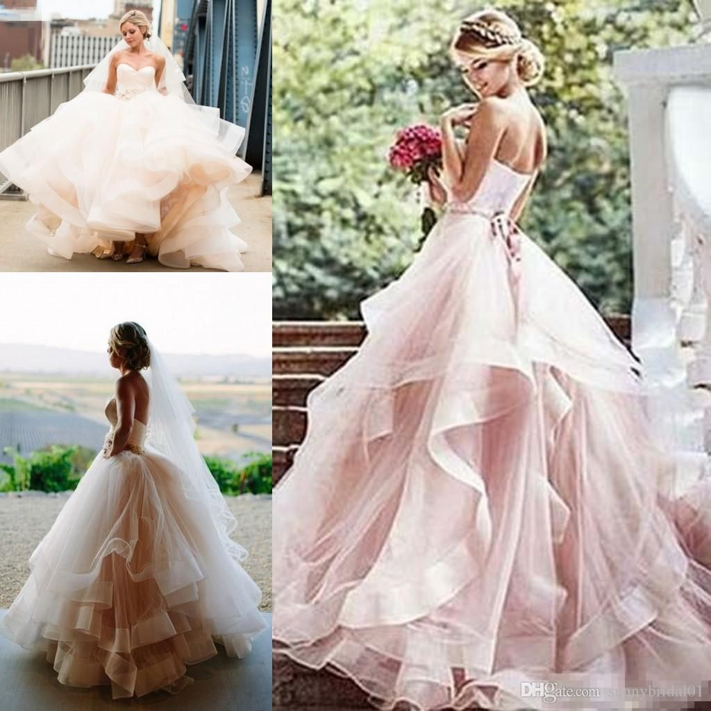 Discount Vintage Soft 1920s Inspired Blush Wedding Dresses 2020 Romantic Layered Tulle Sweetheart Elegant Princess Country Bridal Wedding Gowns Wedding Clothes Pink Wedding Dresses Wedding Dress Organza Layered Wedding Dresses