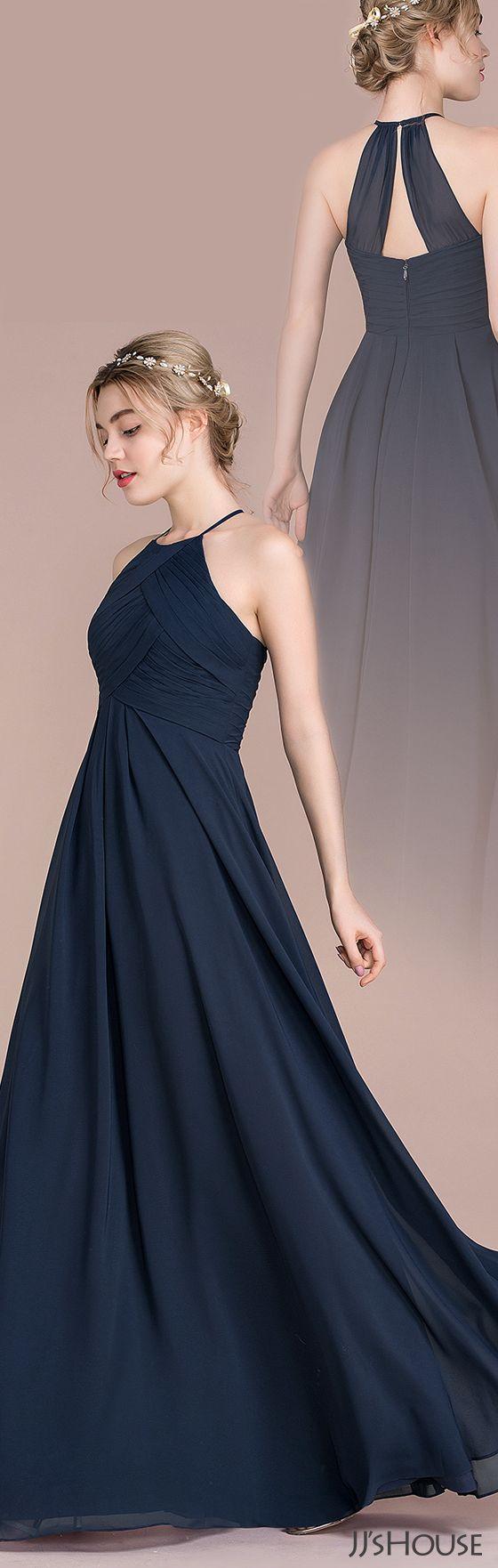 JJsHouse A-Line/Princess Scoop Neck Floor-Length Chiffon Bridesmaid Dress With Ruffle
