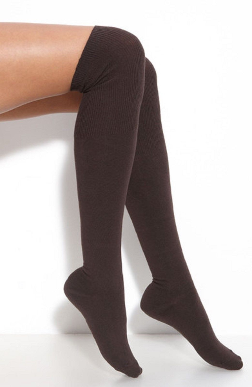 cef9b9d0b NEW GIRLS ADULT TEENAGE BROWN LONG OVER KNEE HIGH SOCKS Size 4-6.5 ...