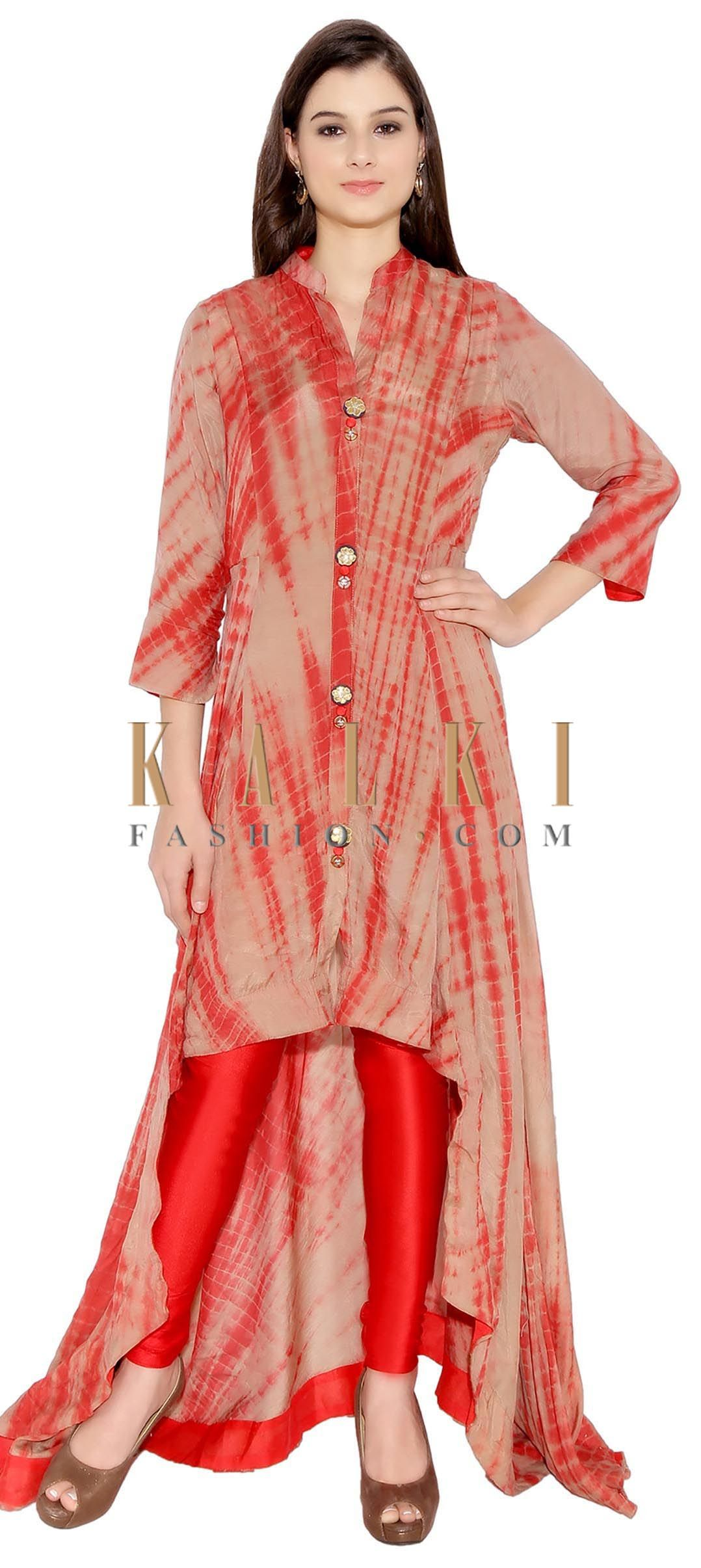 Brown Red Cotton Kurti With Abstract Print And Designer Floor Length Back Trail Only On Kalki Bandhani Dress Traditional Indian Dress Kurti Patterns