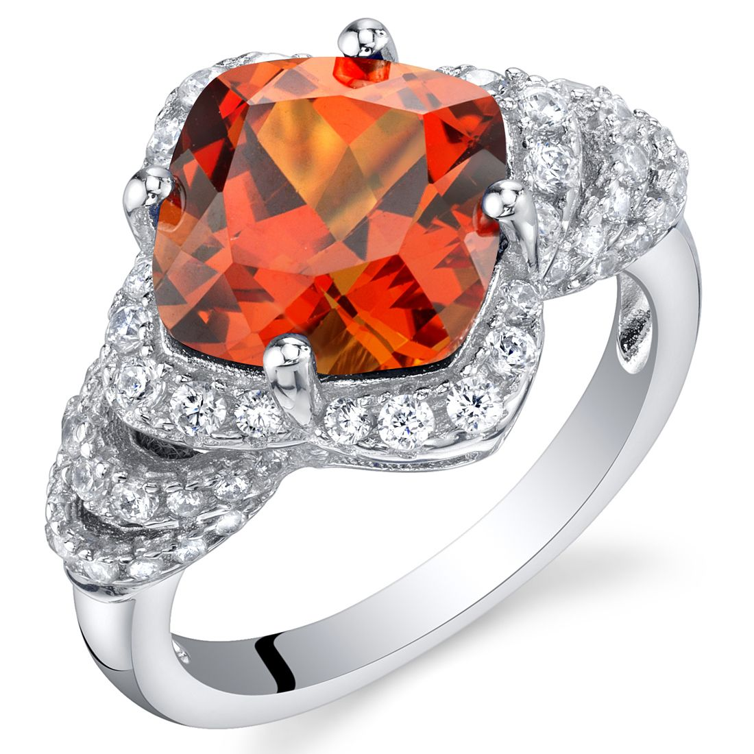 Sterling silver cushion cut padparadscha sapphire halo ring halo