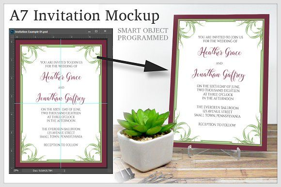 a7 invitation 5 x 7 psd mockup mockup