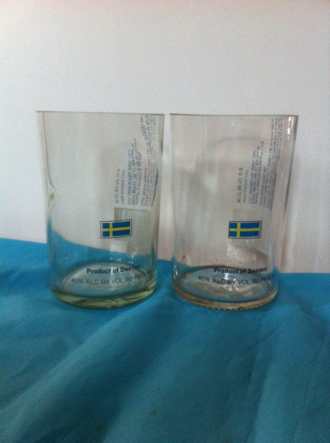 Great tumblers cut from vodka bottles with Swedish Flag silkscreened on it!
