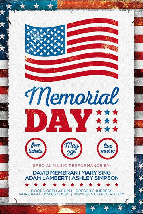 Free Memorial Day Poster Template -   freepsdflyer/free - free memorial template