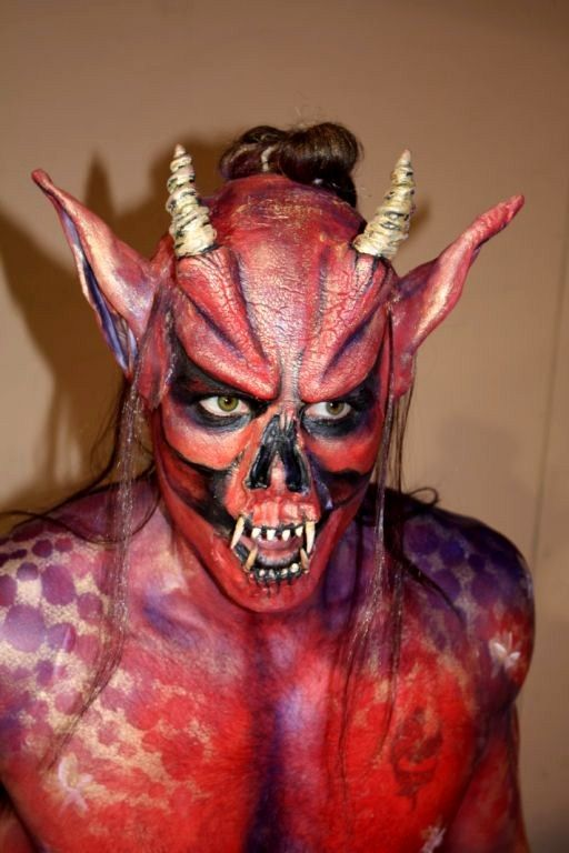 Lucifer Devil Satan Demon Fancy Dress Halloween Costume Makeup Latex Prosthetic