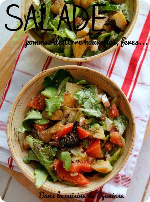 Salades de fèves fraiches, pommes de terre nouvelles... végane   Salade de fèves, Pomme de ...