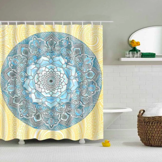 Blue Yellow Lotus Flower Shower Curtain Mandala Shower Curtain Vinyl Shower Curtains Floral Shower Curtains