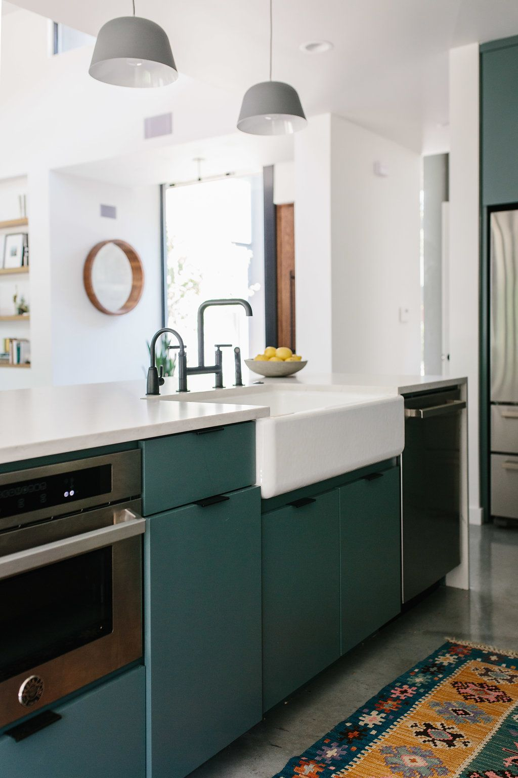Our Austin Casa The Kitchen Reveal The Effortless Chic Chic Kitchen Kitchen Design Green Kitchen Cabinets