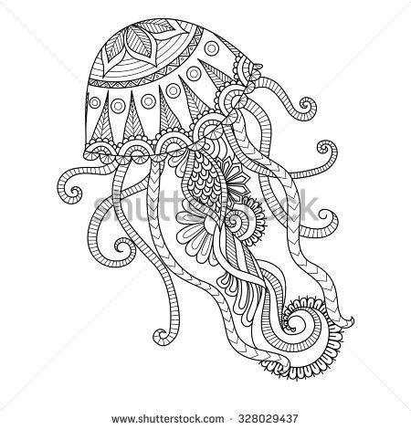 Hand Drawn Jellyfish Zentangle Style For Coloring Book Shirt Design Or Tattoo
