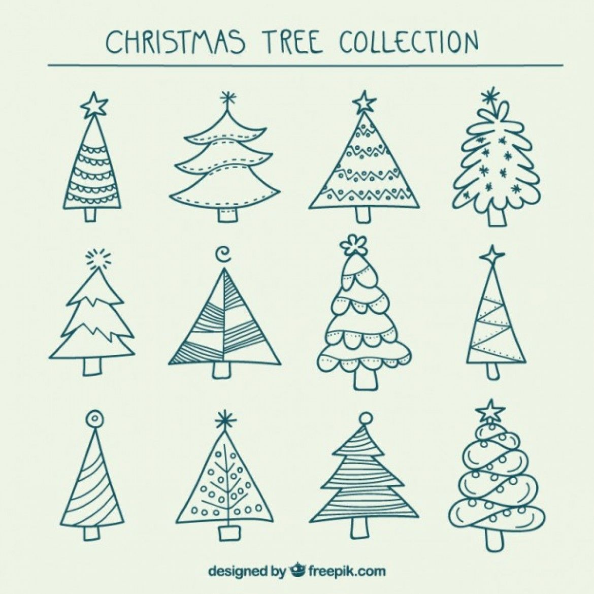 Free Vector Hand Drawn Christmas Trees Collection 25237 Christmas Tree Drawing Christmas Tree Collection Christmas Doodles
