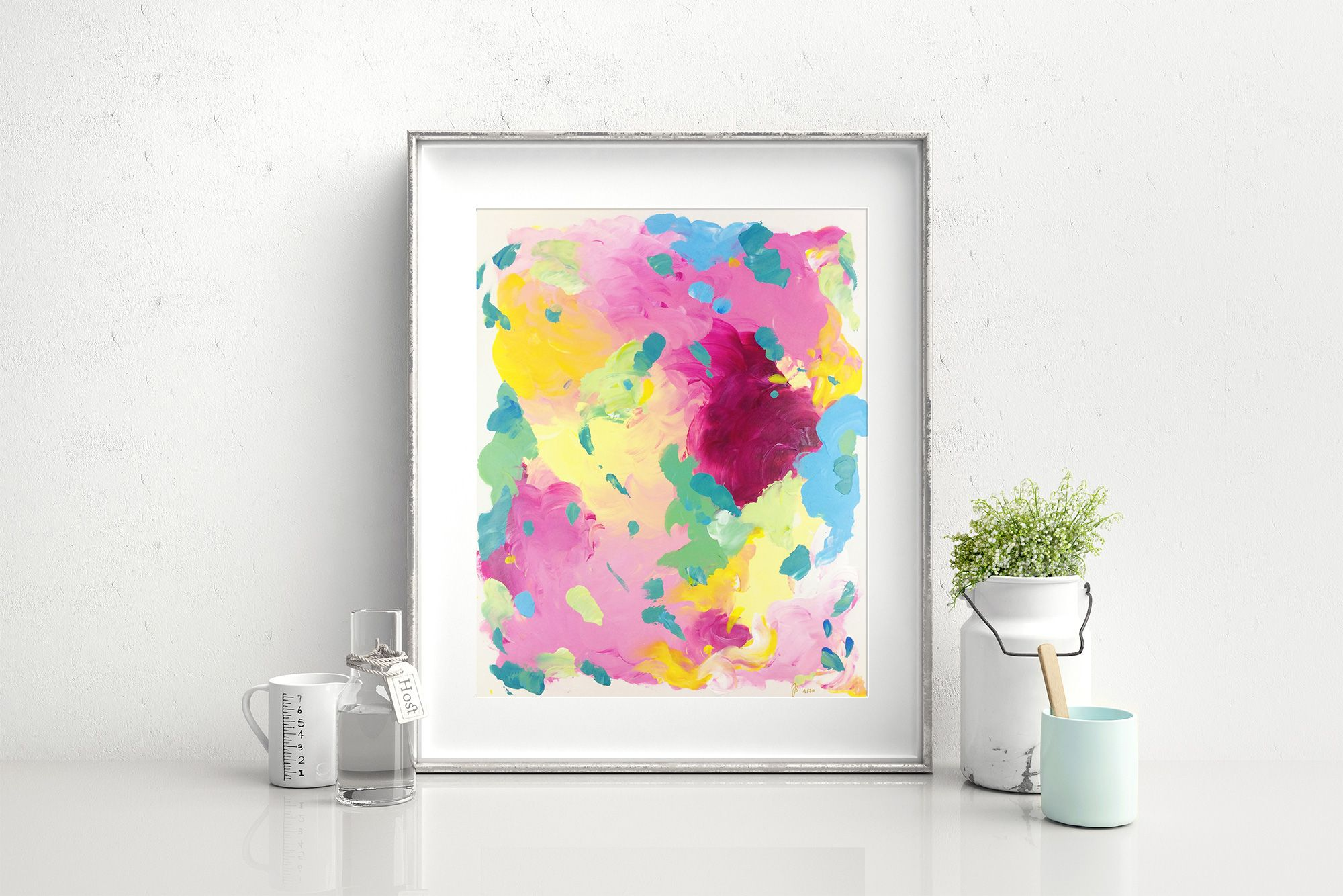 """New Beginnings"", acrylic on paper, A3 (11,69x16,53""), 230$ (free worldwide shipping if you subscribe to my Artletter here: https://www.juliabadow.space/art/ ) colorful, abstract, expressionist, intuitive painting. By Julia Badow"