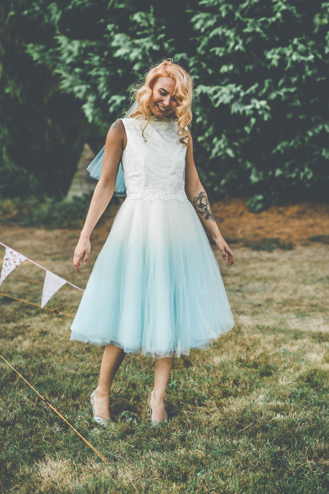 Gallery Lucy Can't Dance Dip dye wedding dress, Blue