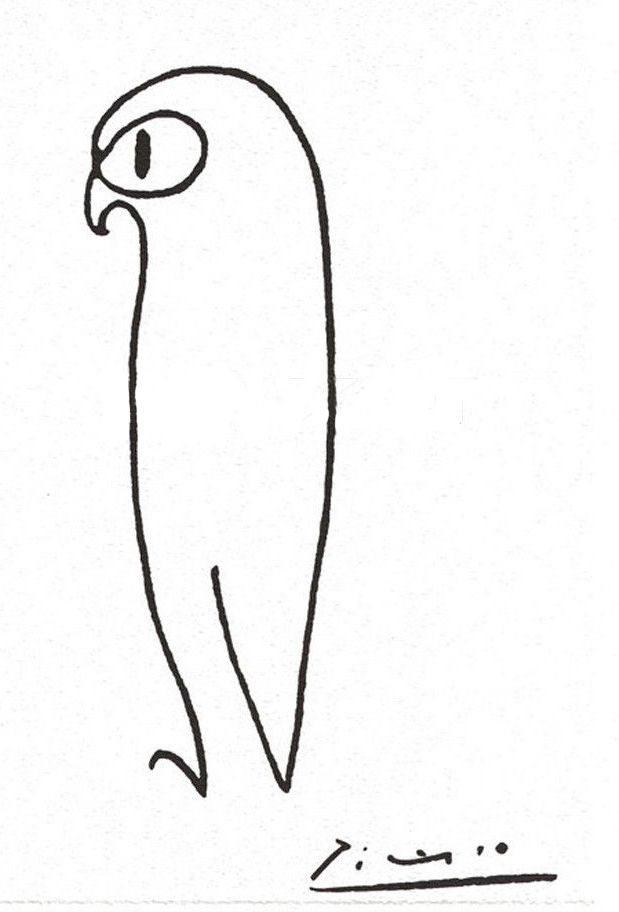 This is an image of Adorable Picasso Bird Drawing