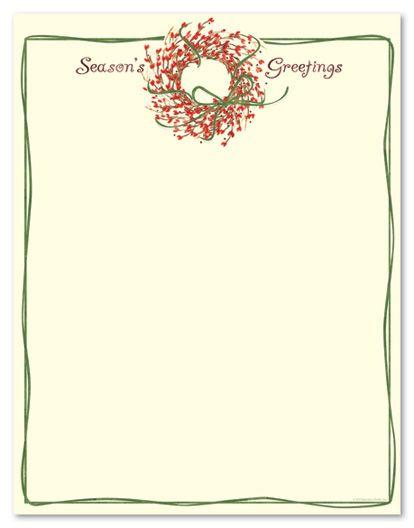 Holiday Stationery Letterhead Season Greetings Wreath