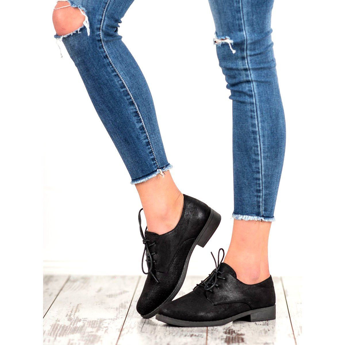 Bless Eleganckie Polbuty Damskie Czarne Oxford Shoes Womens Oxfords Shoes