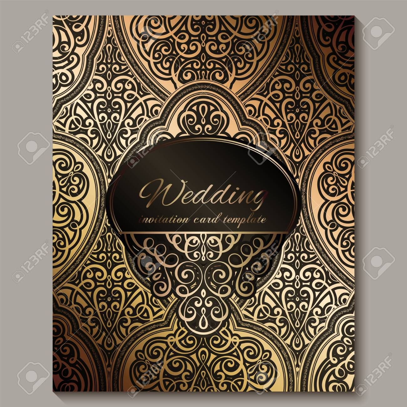 Wedding Invitation Card With Black And Gold Shiny Eastern And Baroque Rich Foliage Wedding Invitation Card Template Wedding Invitation Cards Invitation Cards