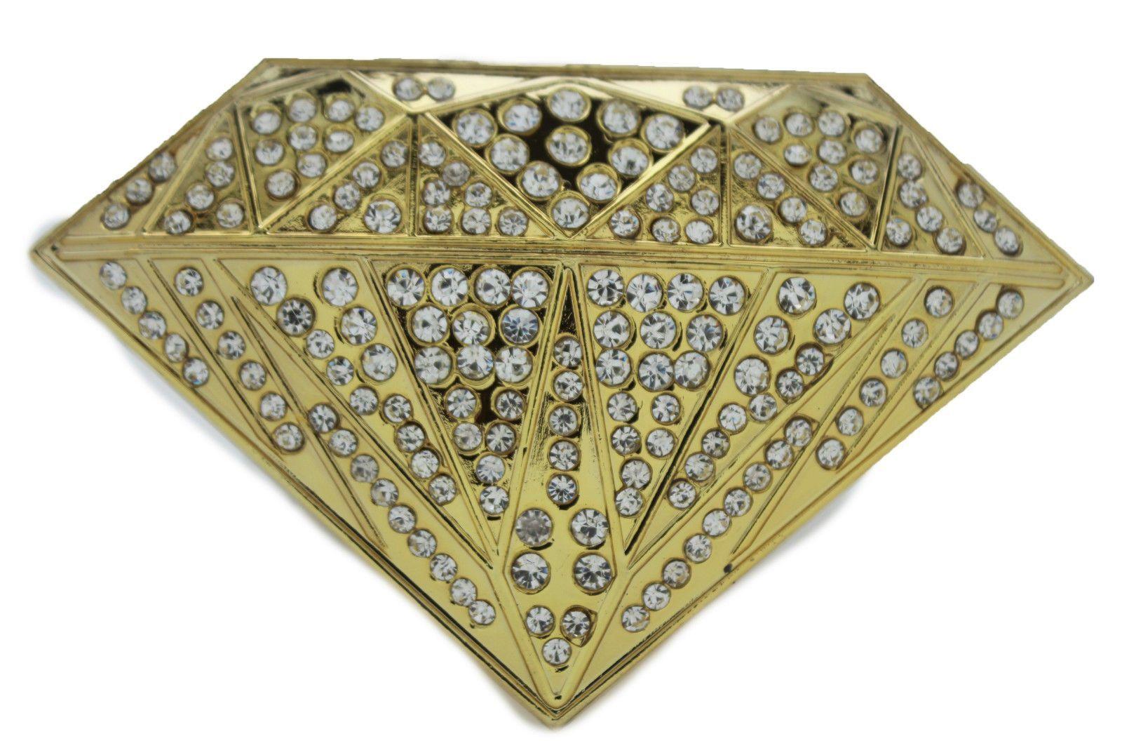 Gold Belt Buckle New Men Women Cowboy Western Fashion Big Diamond Silver Rhinestones Alwaystyle4you Silver Rhinestone Belt Buckles Gold Belt Buckle