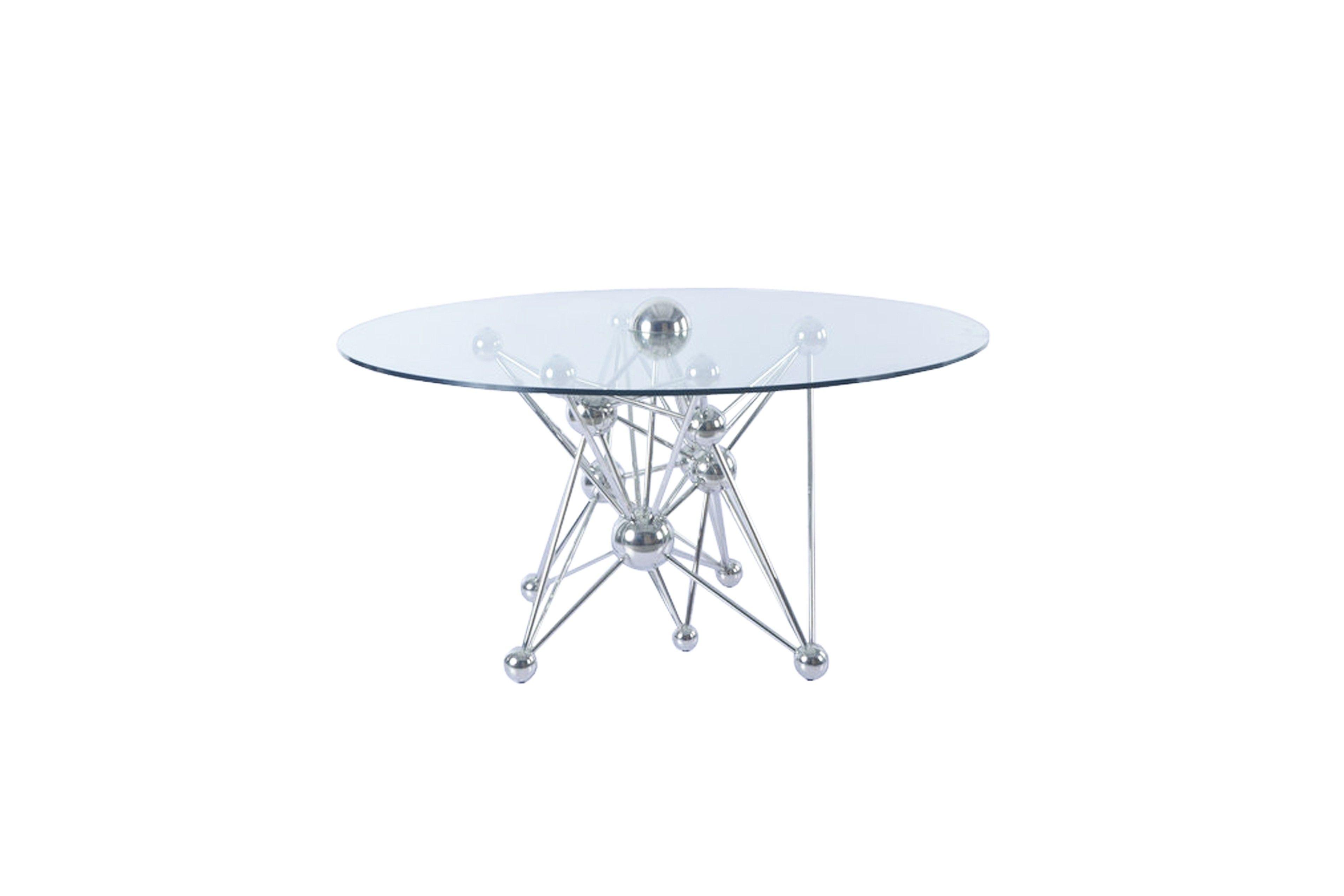 Glastisch Rund Mit Silber Tisch Gestell Runder Glastisch Mobel Landhausstil Kuchentisch Kuche Tisch