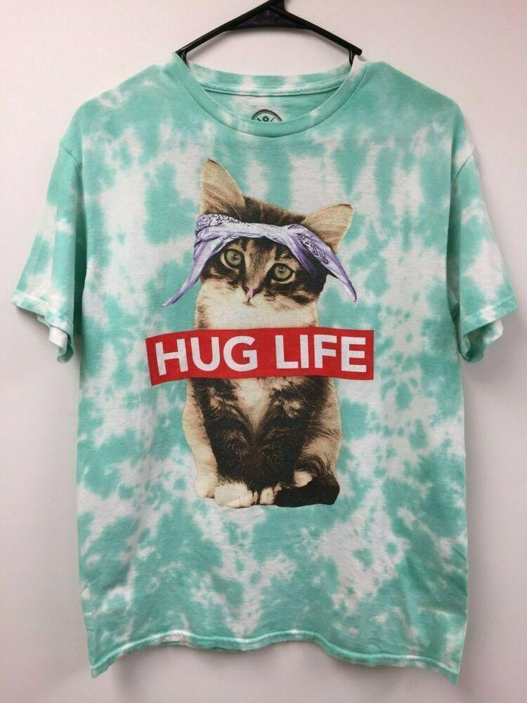 Hug Life Kitty Cat T-shirt MEDIUM Tie Dye FLAWS Funny Cute Pre-owned