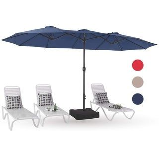 PHI VILLA 15ft Double-Sided Outdoor Market Extra Large Umbrella with Crank, Umbrella Base Included (Navy Blue)(Polyester)