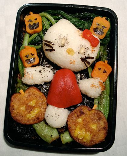 Hello Kitty Zombie Bento   Having featured a multitude of Hello Kitty stuff and lots of bento box variations, here something with a combination of both. Just in time for Halloween today – Hello Kitty Zombie Bento…