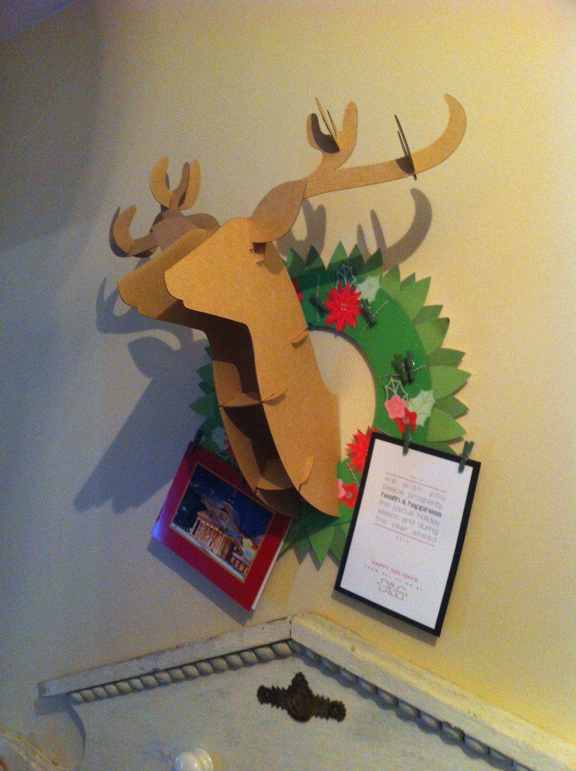Deer head Christmas card holder- bought at target. | Christmas ...