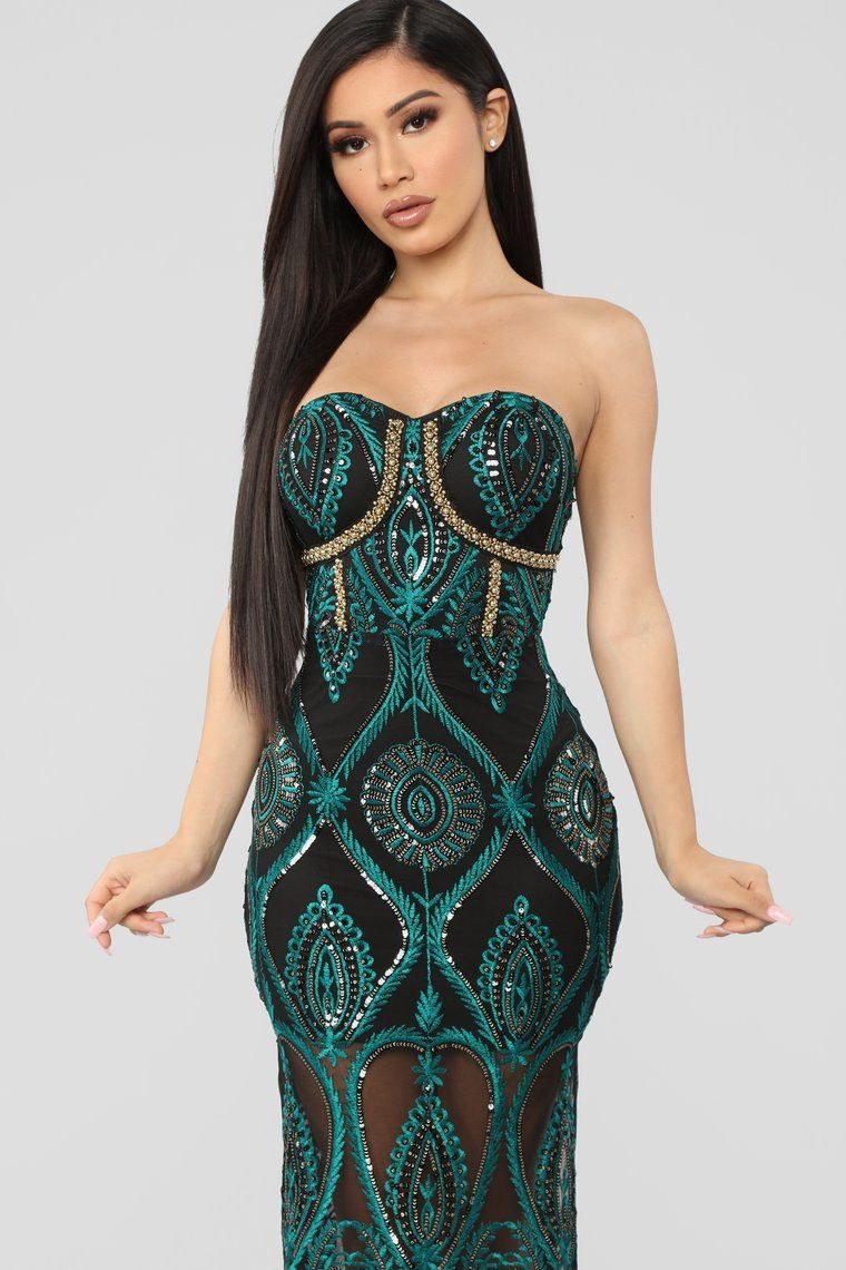06b1614040 Let s Get Lost Tonight Embroidered Midi Dress - Black Teal in 2019 ...